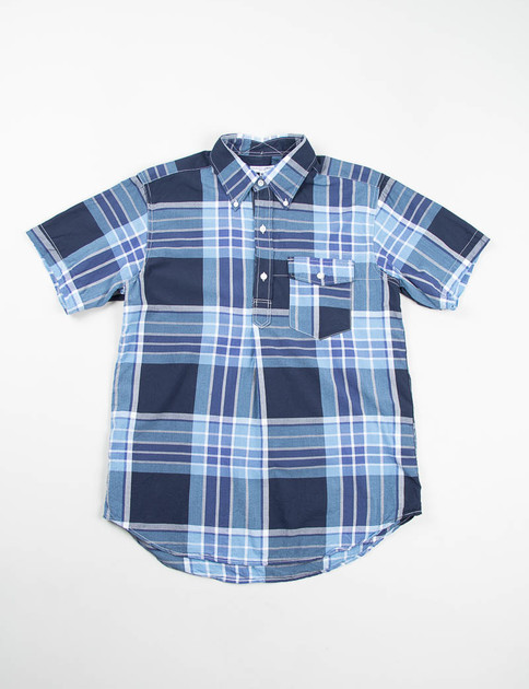 Light Blue/Navy/White Big Plaid Popover BD Shirt