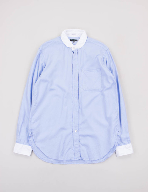 Light Blue/White French Twill Rounded Collar Shirt Combo