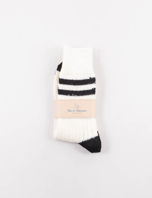Nature/Deep Black S75 Organic Wool Striped Socks