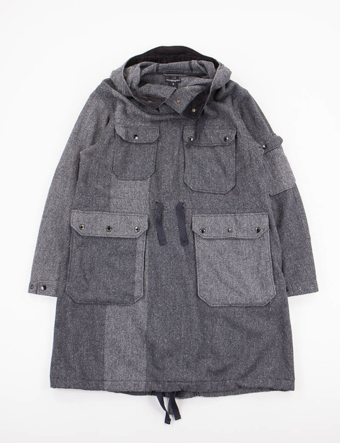 Grey 2 Tone Wool Herringbone Over Parka