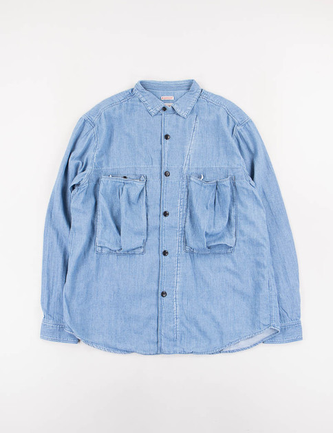 Processed Soft Denim Anorak Shirt