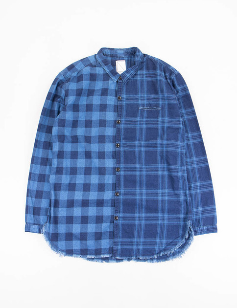 Indigo Switching Cut Off Shirt