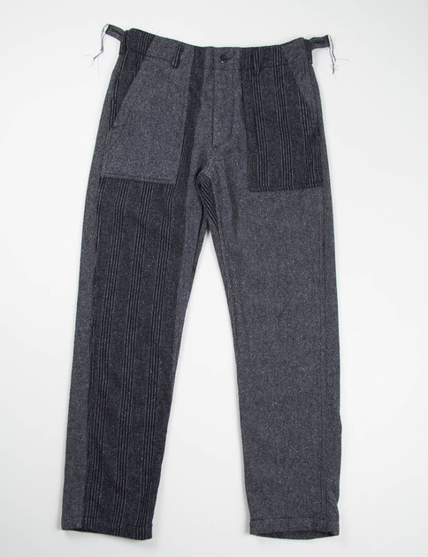 Dark Grey Pattern Block Herringbone Fatigue Pant