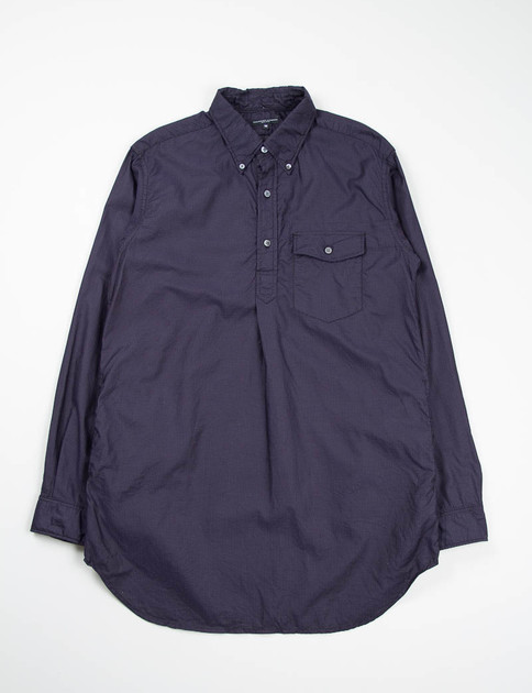 Dark Navy Micro Dot Dobby Popover Long BD Shirt