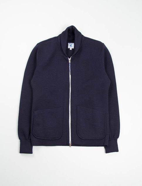 Navy Wool Heavy Knit Roscoff Jacket