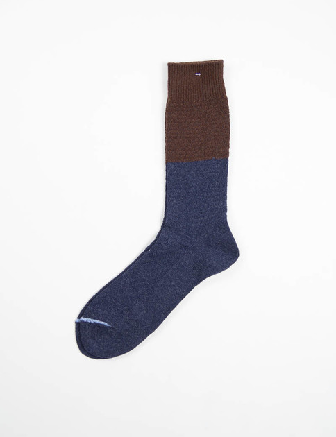 Navy 2 Tone Knit Socks