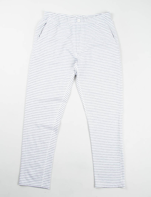 Grey/White Stripe French Terry Easy Pant