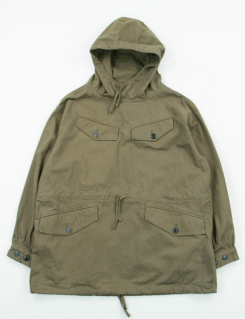 Olive Herringbone Cotton Mountain Smock