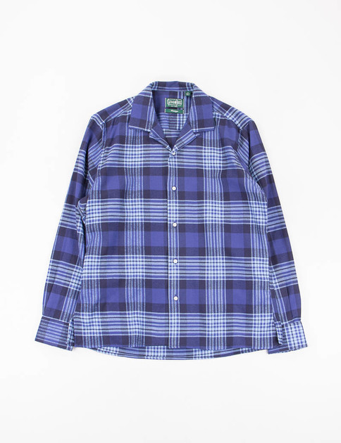 Blue Japanese Flannel Check Camp Shirt