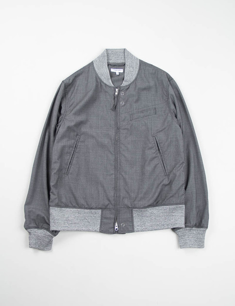 Grey Tropical Wool Aviator Jacket