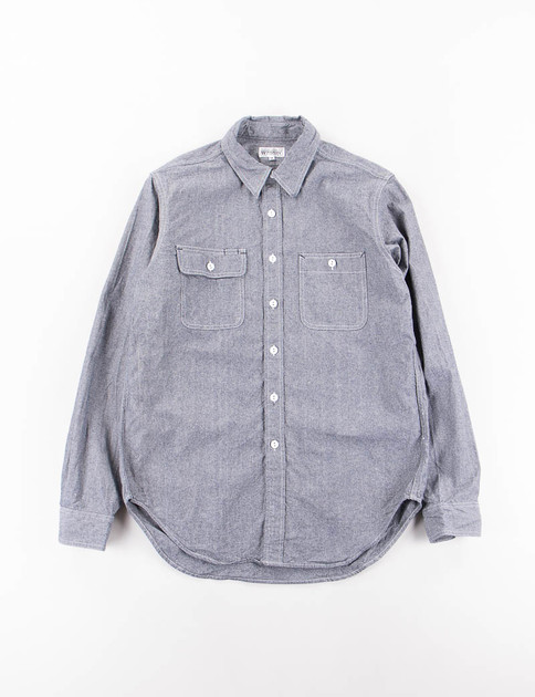 Blue Cotton Chambray Utility Shirt