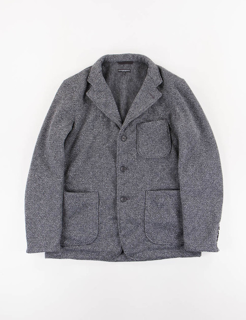 Grey Herringbone Fleece Knit Blazer