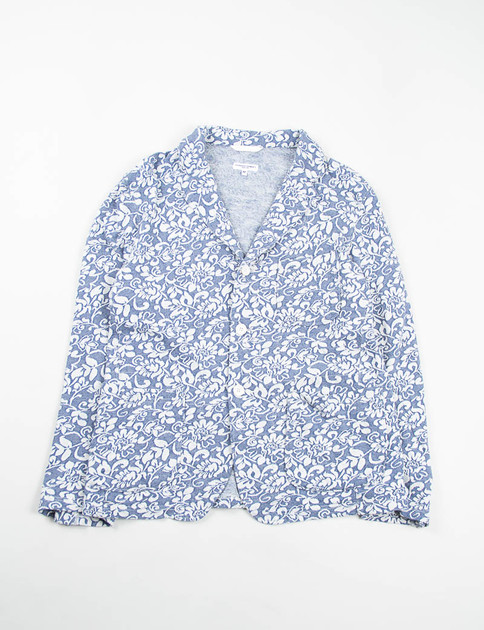 Navy Floral Jacquard French Terry Knit Jacket