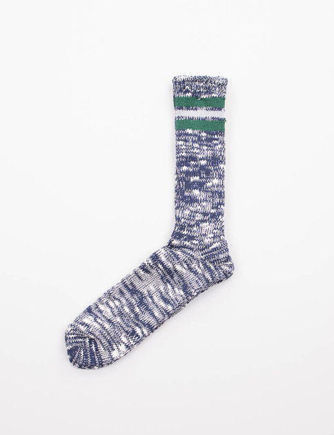 Navy/Green 3 Line Slub Crew Socks