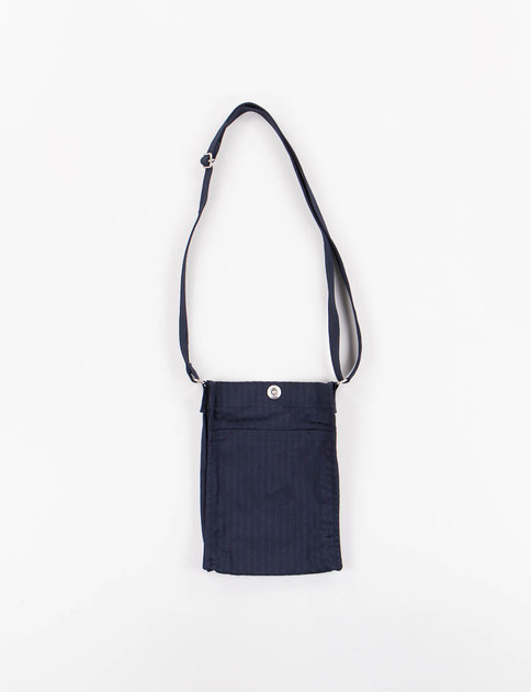 Navy Shadow Stripe Cotton Stretch Cloth Small Shoulder Bag