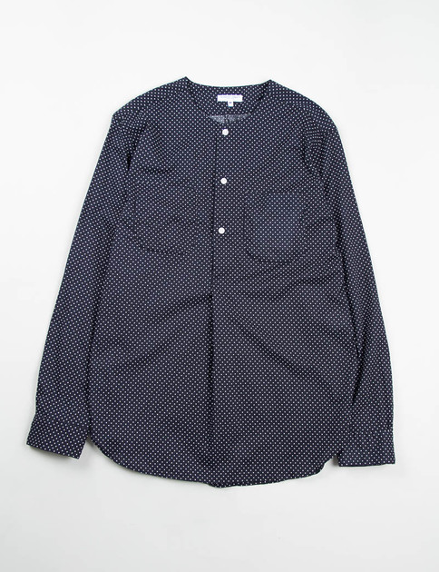 Navy Small Polka Dot Lawn Irving Shirt