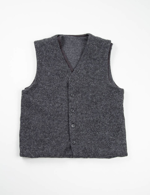 Charcoal Sweater Knit Combi Vest
