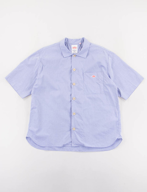 Blue Cotton Poplin Short Sleeve Shirt