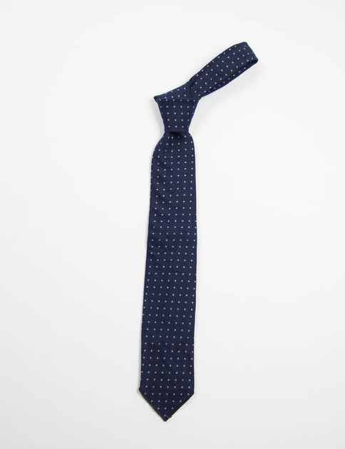 Navy Brushed Polka Dot Twill Neck Tie