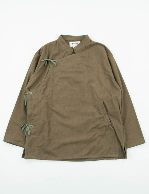 Olive Flannel Cotton Monks Shirt