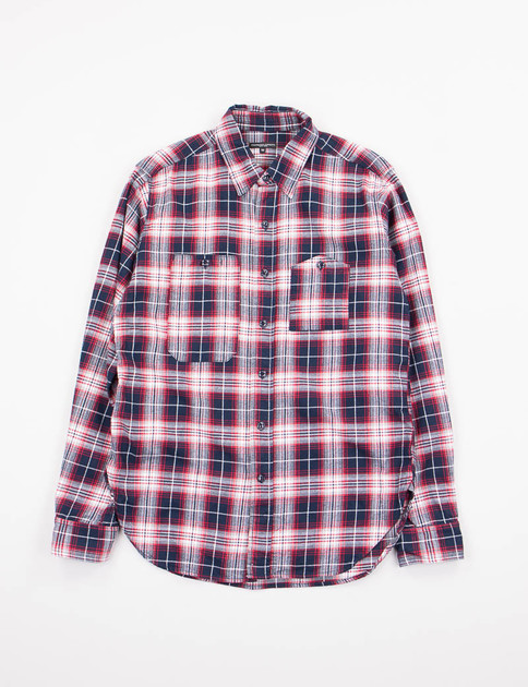 Navy/White/Red Plaid Flannel Work Shirt