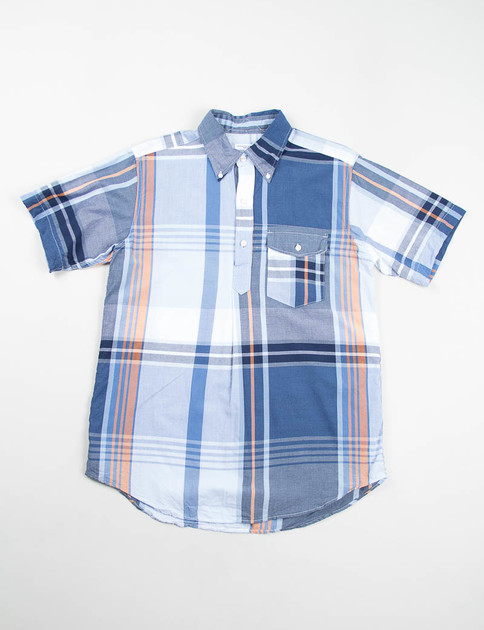 Navy/Orange Big Plaid Popover BD Shirt