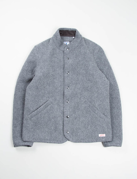 Grey Boiled Wool Knit Raschel Jacket