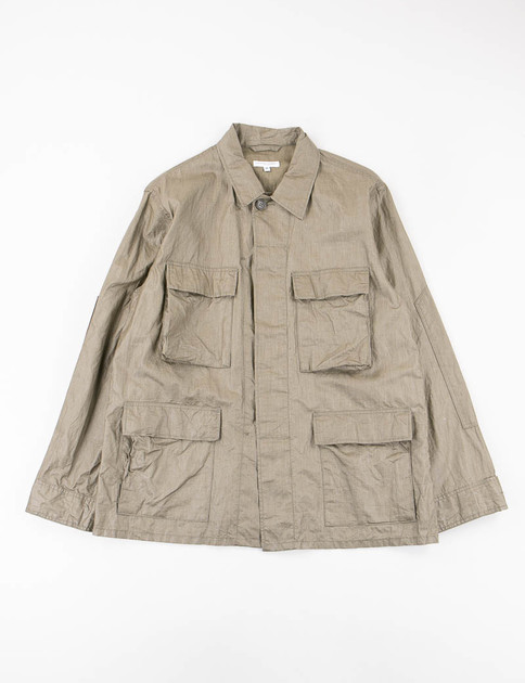 Olive Coated Linen BDU Jacket