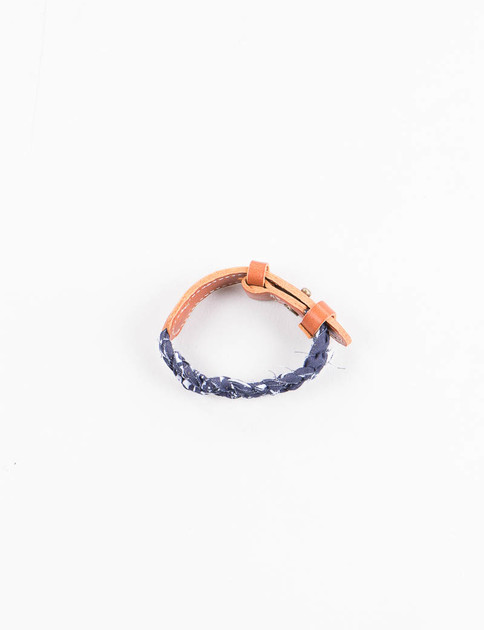 Navy Bandana/Leather Bracelet