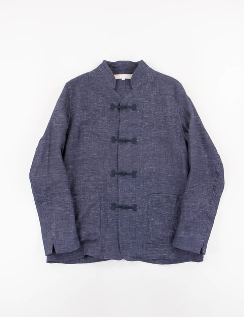 Navy Linen Frog Button Jacket