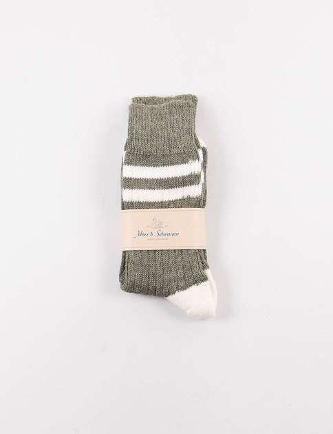 Army/Nature S75 Organic Wool Striped Socks