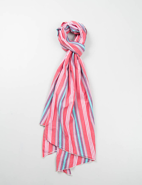 Red Multi Color Stripe Long Scarf