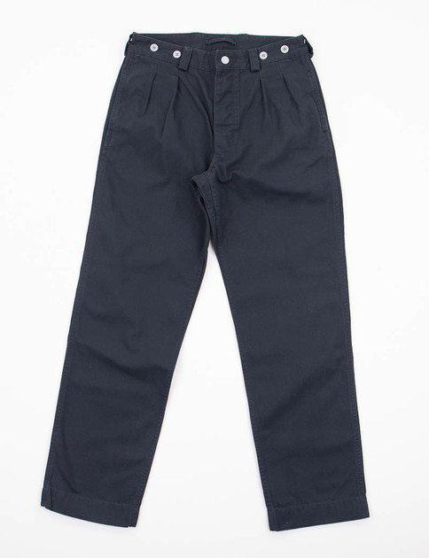 Lybro Black Navy Pleated Canvas Chino