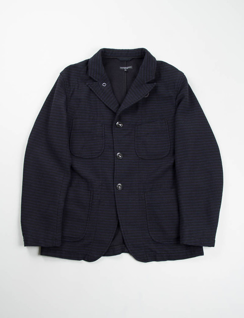 Black/Navy Wool Horizontal Stripe Bedford Jacket
