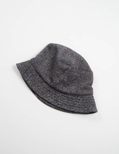 Grey Wool Tweed Bucket Hat
