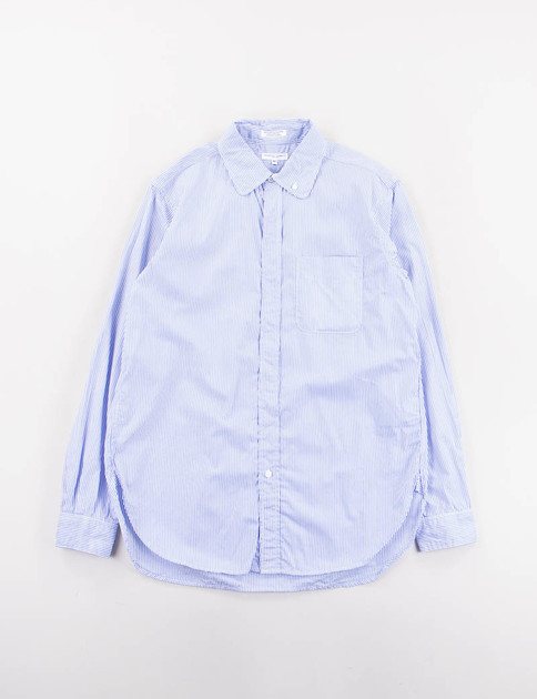 Blue Pin Stripe Broadcloth Rounded Collar Shirt