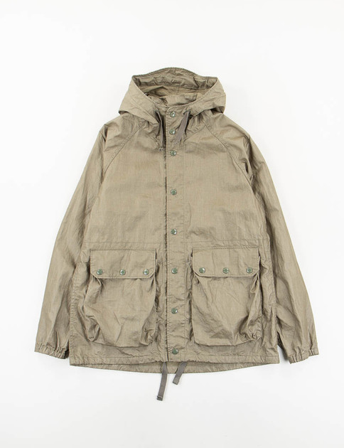 Olive Coated Linen Light Parka
