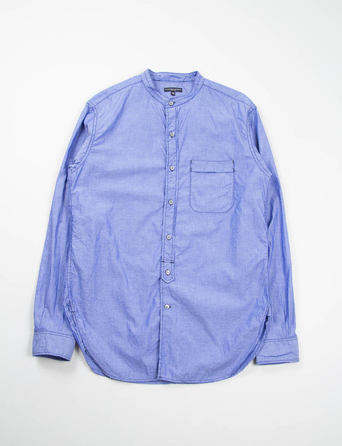 Blue Chambray Banded Collar Shirt