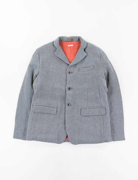 Blue Embroidered 3 Button Jacket