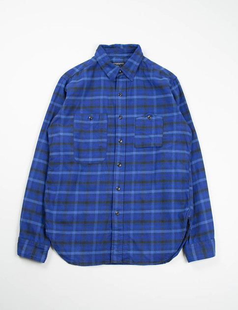 Blue/Navy Brushed Plaid Work Shirt