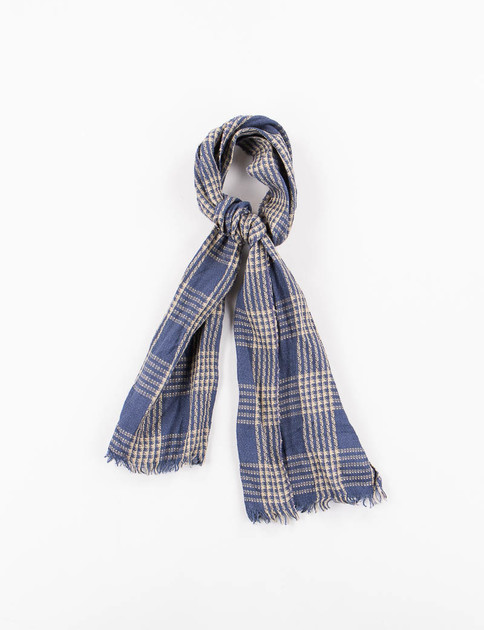 Navy/Tan Check Linen Neck Scarf