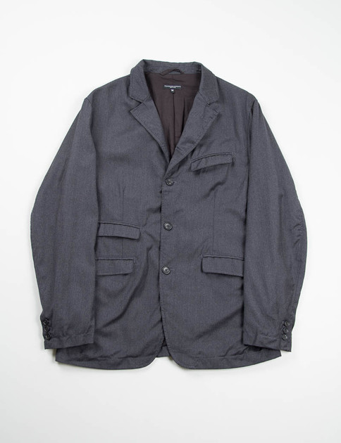 Charcoal Worsted Wool Flannel Andover Jacket