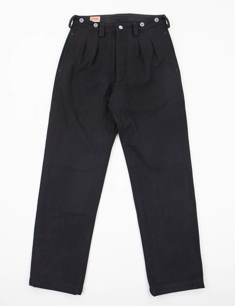 Lybro Black Navy Pleated Wool Chino