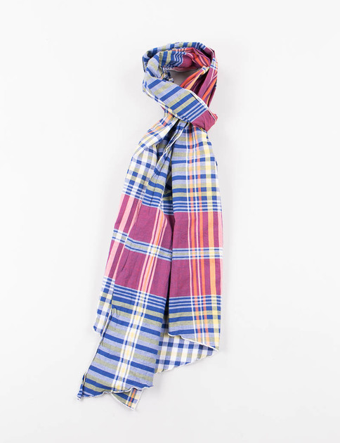 Red/Blue/Yellow Big Plaid Long Scarf