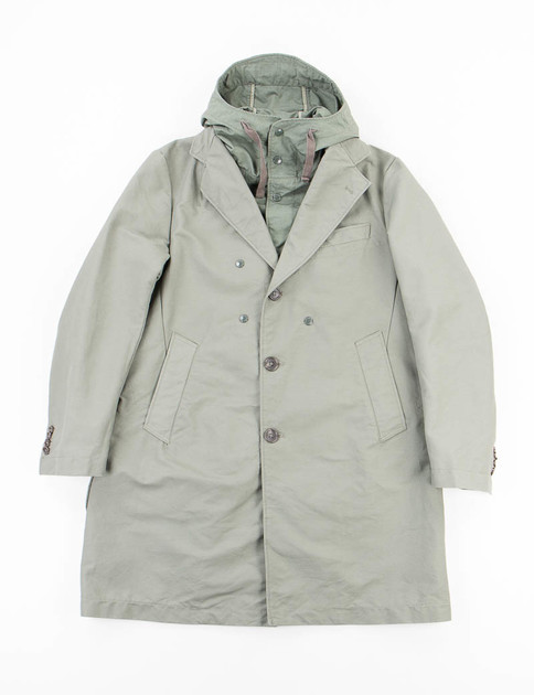 Olive Cotton Double Cloth Chester Coat