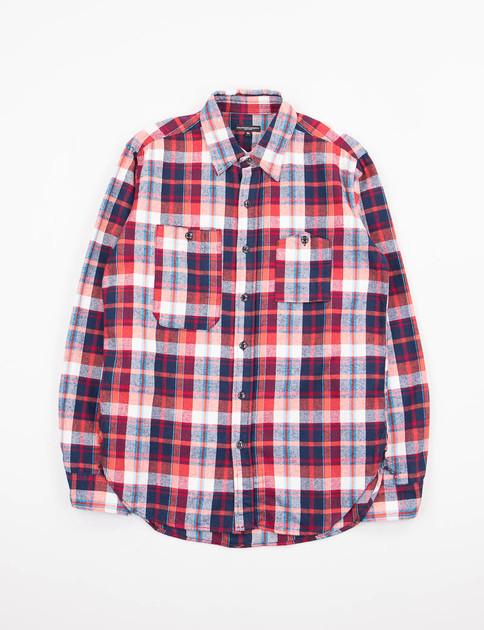 Red/Navy/Turquoise Plaid Flannel Work Shirt