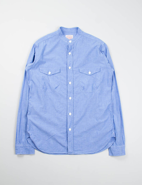Blue Chambray Banded Collar Mill Shirt