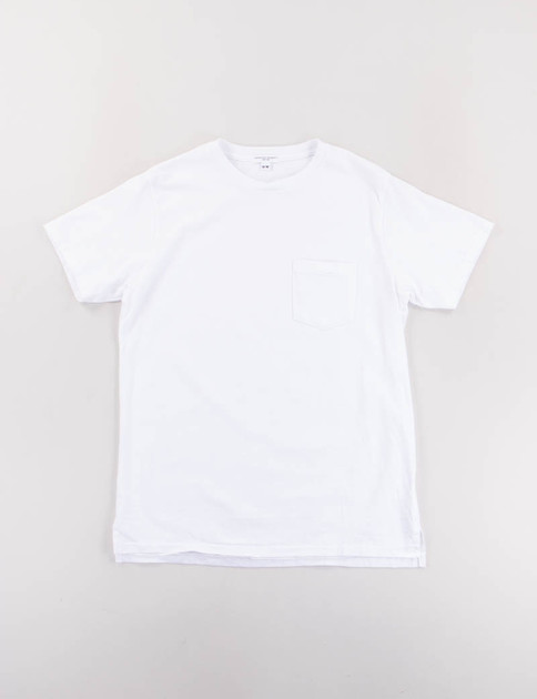 White Crossover Neck Pocket Tee