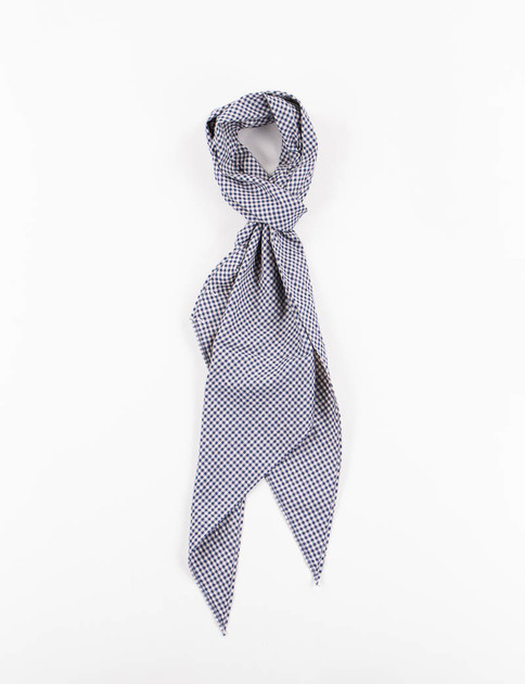 Navy/Beige Ground Gingham Plaid Bias Cut Scarf