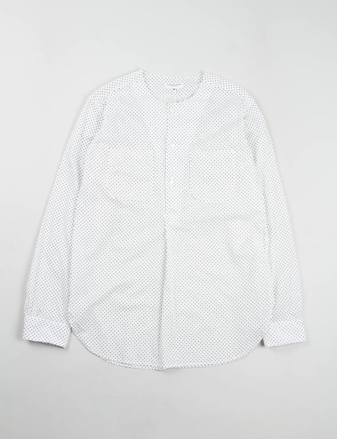White Small Polka Dot Lawn Irving Shirt